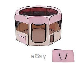 45 Dog Kennel Pet Fence Puppy Soft Playpen Exercise Pen Folding Crate Pink New