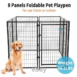 47Dog Playpen Crate 8 Panel Heavy Duty Metal Exercise Fence Playpen Kennel