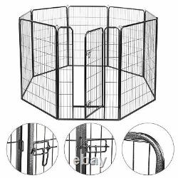 47 Inch Dog Playpen Crate 8 Panel Fence Pet Play Pen Exercise Kennel Cage Yard