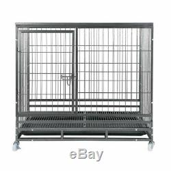48 Black Heavy Duty Dog Crate Cage Pet Kennel Playpen Exercise with Metal Tray TO