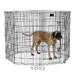 48 Dog Exercise Play Pen Folding Indoor Outdoor Cage Fence Pet Large Kennel