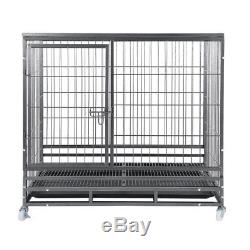 48 Heavy Duty Dog Cage Large Pet Crate Kennel Exercise Playpan Pen & Tray EK#