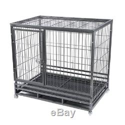 48 Heavy Duty Dog Cage Large Pet Crate Kennel Exercise Playpan Pen & Tray MA#