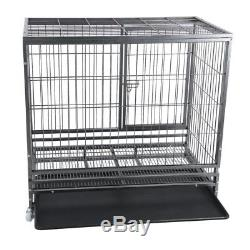 48 Heavy Duty Dog Cage Large Pet Crate Kennel Exercise Playpan Pen & Tray TO#