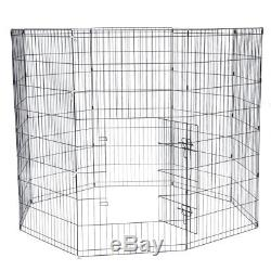 48 Tall Wire Fence Pet Dog Cat Folding Exercise Yard Metal Play Pen Black