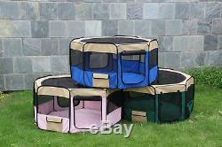 50 Soft Pet Playpen Exercise Puppy Play Pen Dog Fence Cat Kennel Folding Crate