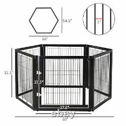 6 Panel Pet Playpen Fold Exercise Cage Fence Enclosure Dog Puppy Freestanding