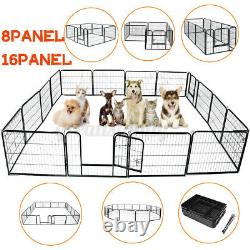 8/16 Panel 24 Metal Pet Dog Cat Exercise Fence Playpen Kennel Safety In/outdoor