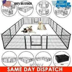 8 / 16 Panel Heavy Duty Cage Crate Pet Dog Exercise Fence Playpen 40'' 32'' 24'