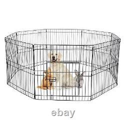 8/16 Panel Heavy Duty Cage Crate Pet Dog Exercise Fence Playpen 40'' 32'' 24'
