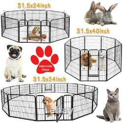 8/16 Panel Puppy Pen Pet Dog Playpen Exercise Fence Rabbit Run Cage Safe Kennel