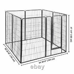 8 Panel 32x48 Pet Playpen Extra Large Dog Exercise Fence Panel Crate Camping