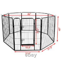 8 Panel 40 Heavy Duty Metal Cage Crate Pet Dog Exercise Fence Playpen Kennel US