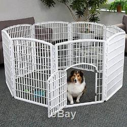 8 Panel Dog Fence Indoor Outdoor Pen Pet Enclosure Play Exercise Area Rust Proof