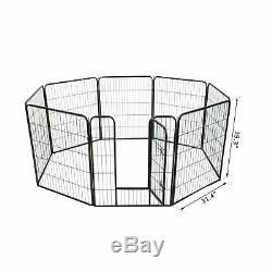 8 Panel Dog Pet Playpen Heavy Duty Metal Exercise Enclosure Fence 40