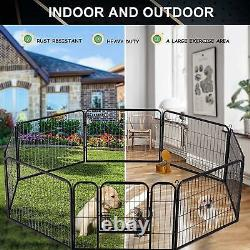 8 Panel Heavy Duty Cage Crate Pet Dog Cat 32'' 24'' Exercise Fence Playpen