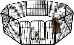 8-Panel Heavy Duty Folding Metal Dog Exercise Pens Fence Gate Crate Kennel Cage