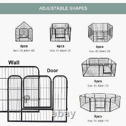 8 Panel Heavy Duty Metal Cage Crate Pet Dog Exercise Fence Playpen Kennel