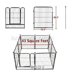 8 Panel Heavy Duty Metal Dog Cat Exercise Fence Playpen Kennel 40H Safe For Pet