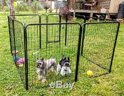 8 Panel Pen Dog Kennel Extra Large 40 Inch Tall Black Exercise Playpen with Gate
