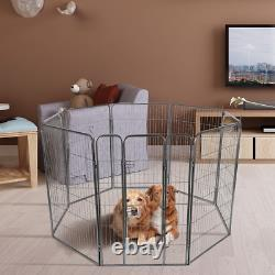 8 Panel Pet Puppy Dog Kennel Cage Fence Playpen House Door Exercise Metal 48