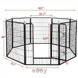 8 Panel Used Pet Playpen Dog Exercise Pen Fence Metal Exercise Barrier 39''H