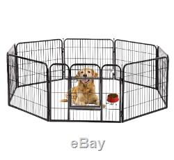 8 Panels 32 Fence Cage Exercise Pen Play Pet Dog Cat Outdoor Puppy Playpen