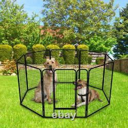 8 Panels strong Tall Dog Playpen Large Crate Fence Pet Play Pen Exercise Cage