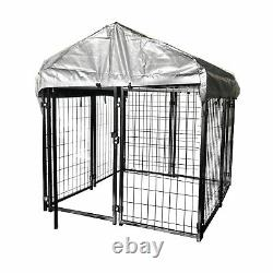 ALEKO Dog Kennel 5 x 5 x 4 ft Chain Link Pet Exercise Pen Fence with Roof, Fabric