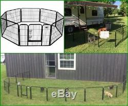 Dog Cage Outdoor Pet Playpen Cat Fence HEAVY DUTY 8 Panel Exercise Pen 32 Black