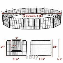 Dog Crate Cage 16-Panel Kennel Pet Playpen Exercise Pen Metal Enclosure Fence