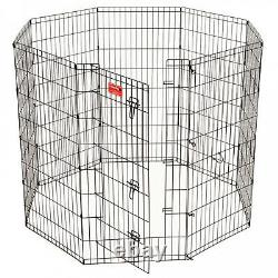 Dog Exercise Pen 42 in. High Heavy Duty With Stakes Portable Outdoor Play Fence