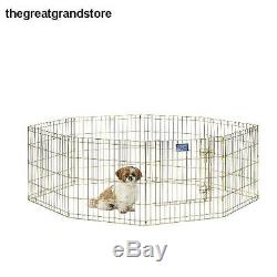 Dog Exercise Pen Door Enclosures Pet Play Yard Animal Fence Outdoor Crate Area
