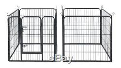 Dog Exercise Pen Kennel Pet Fence Metal Portable Play Yard Back Yard Wire Gate