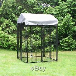 Dog Kennel Outdoor Covered Heavy Duty Welded Wire Exercise Pen 4'L x 4'W x 6'H