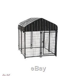 Dog Kennel Outdoor Pen Outside Exercise Lucky Crate Small Pet Wire Cage with Roof