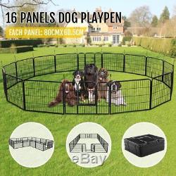 Dog Kennel Outdoor Pet Play Pen Cage 16 Panels Heavy Duty Metal Exercise 24 TO