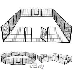 Dog Kennel Outdoor Pet Play Pen Cage 16 Panels Heavy Duty Metal Exercise 24 UR