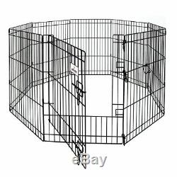 Dog Pet Cage Tall Wire Fence with Step Through 30 by 24 8-Panel Exercise Pen New