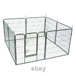 Dog Pet Play Pen Heavy Duty Metal Exercise Fence Folding Kennel 8 Panel 32 B4