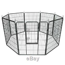 Dog Pet Playpen Heavy Duty Metal Exercise Fence Folding Kennel 8 Panel 40 inch F