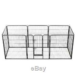 Dog Playpen 8 Panels Steel Large Crate Fence Pet Play Pen Exercise Cage Outdoor