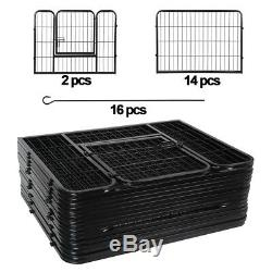 Dog Playpen Crate 16 Panel Fence 24 Pet Play Pen Exercise Puppy Kennel Cage