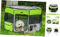Dog Playpen, Foldable Puppy Pet Exercise Kennel with Large Grey & Green