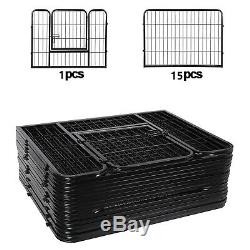 Dog Playpen Large Crate Fence Pet Play Pen Exercise Cage 24 Inch 16 Panels