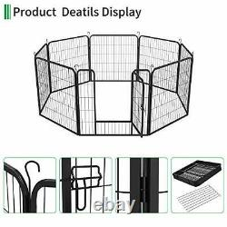 Dog Playpen Outdoor 8-Panel Heavy Duty Portable and Foldable Metal Exercise Fen