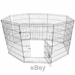 Dog Playpen Pet Kennel Pen Exercise Cage 8 Panel Fence Lightweight Durable New