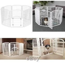 Dog Playpen Puppy Exercise Fence Indoor Outdoor Kennel Plastic Pet Pen White