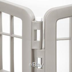 Exercise 8 Panel Pen Pet Playpen with Door 34 Inch Dog Gate Kennel Chrome