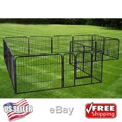 Exercise Metal Play Pen16 Panel Puppy Cage Pet Dog Cat Fence -24inch US Stock E2
